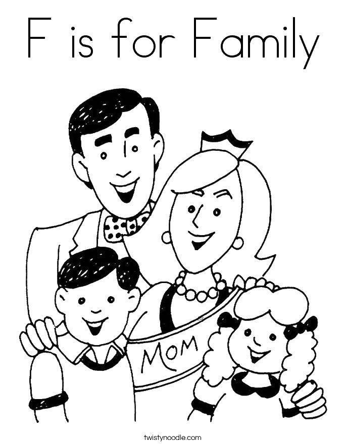 Раскраска С значит семья. Скачать Семья, родители, дети.  Распечатать ,Члены семьи,