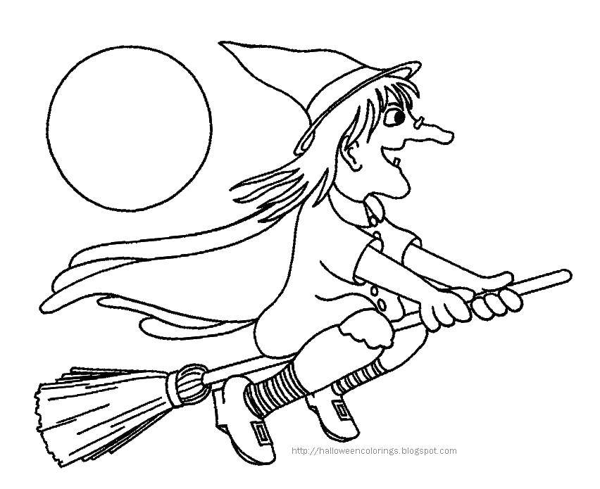 Раскраска Старая ведьма на метле. Скачать Хэллоуин, ведьма, ночь, метла.  Распечатать ,ведьма,
