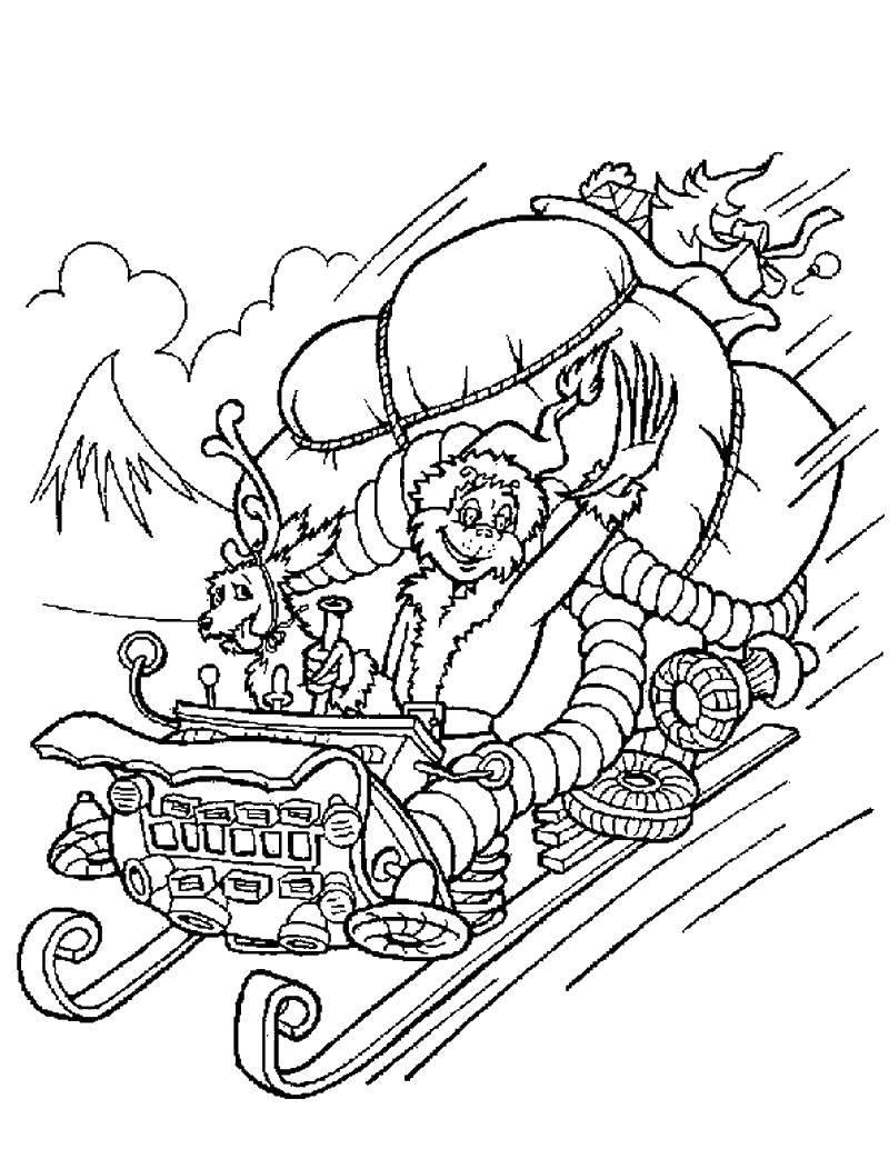 Раскраска Гринч с подарками на санях Скачать ,рождество, гринч,.  Распечатать