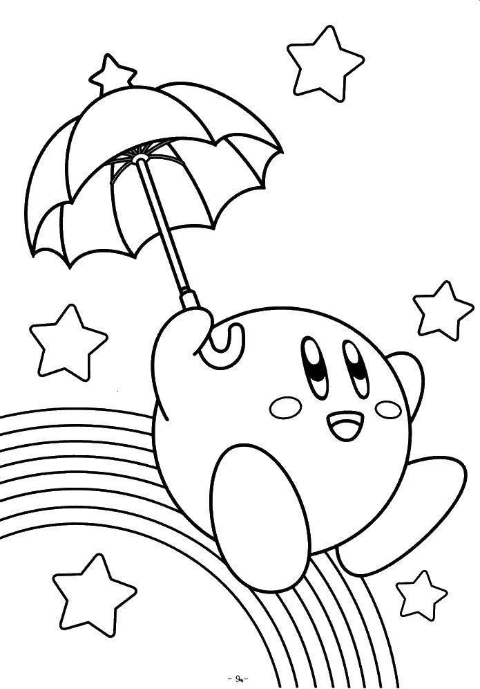 Раскраска Кирби спускается по радуге Скачать Игры.  Распечатать ,Кирби,