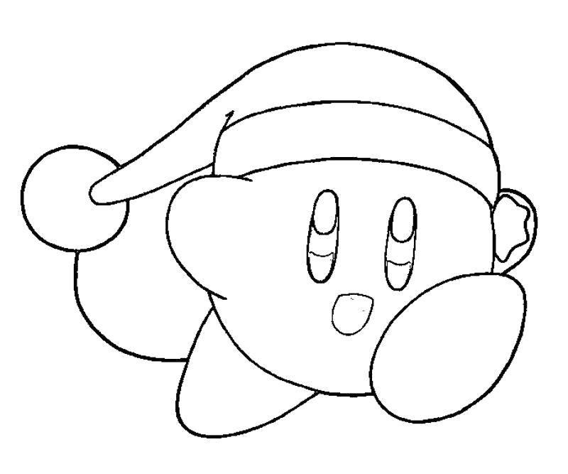 Раскраска Кирби в шапочке Скачать Игры.  Распечатать ,Кирби,