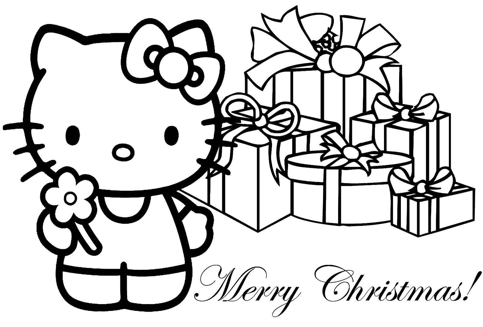 Раскраска Китти с подарками на рождество Скачать рождество, китти.  Распечатать ,рождество,