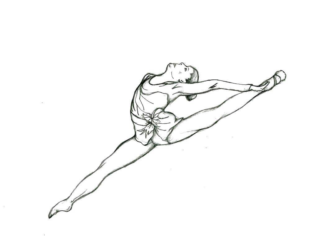 Раскраска Спортивная гимнастка Скачать Спорт, гимнастика.  Распечатать ,гимнастика,