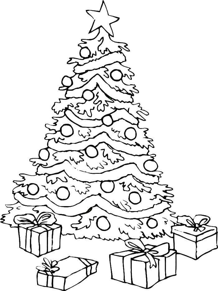 Раскраска Праздничная елка с подарками Скачать Рождество, елка, подарки.  Распечатать ,рождество,