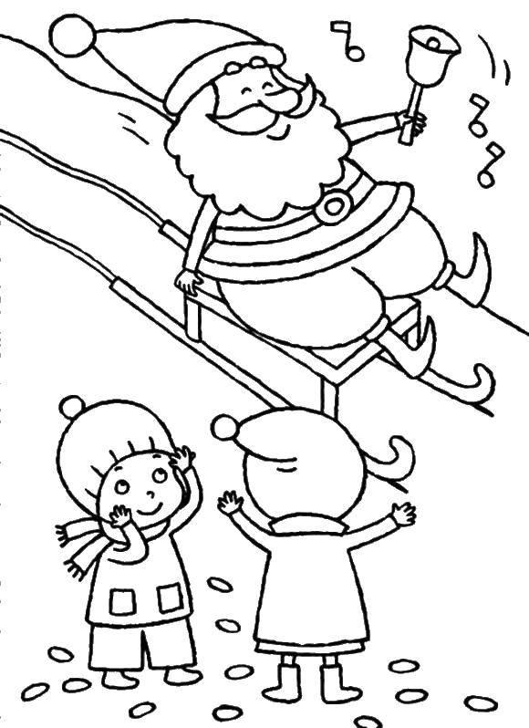 Раскраска Санта едит на санях с колокольчиком Скачать сани, санта.  Распечатать ,рождество,