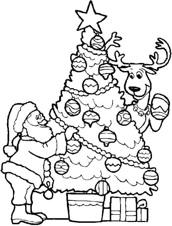 раскраски санта раскраска санта и олень наряжают елку