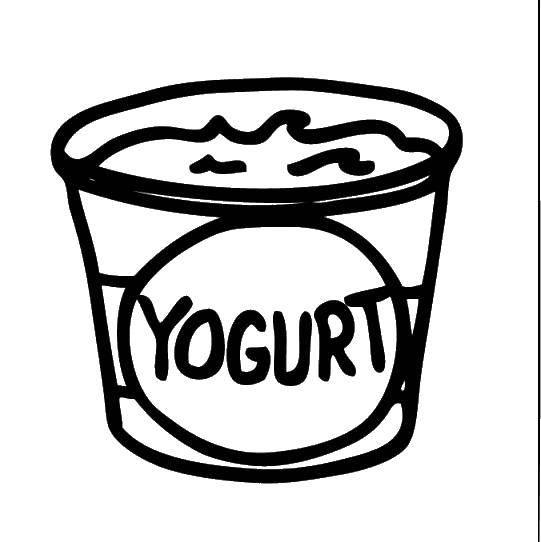 Раскраска Коробочка йогурта. Скачать еда.  Распечатать ,Йогурт,