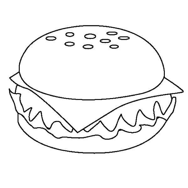 Раскраска Гамбургер Скачать ,лабиринты, карты,.  Распечатать
