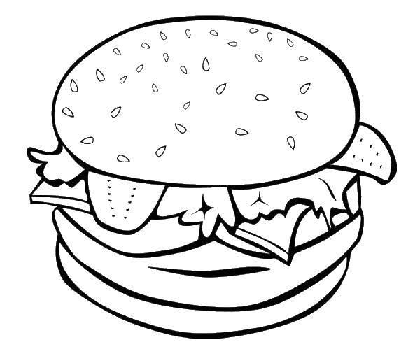Раскраска Гамбургер Скачать ,трактор с ковшом,.  Распечатать