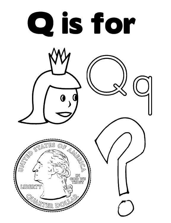 Раскраска Буква q для. Скачать монета, буква.  Распечатать ,Макияж,