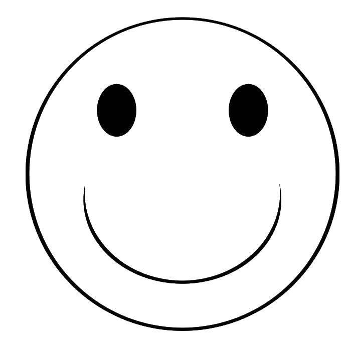 Раскраска Смайлик с улыбкой Скачать смайлики, лицо, улыбка.  Распечатать ,смайлики,