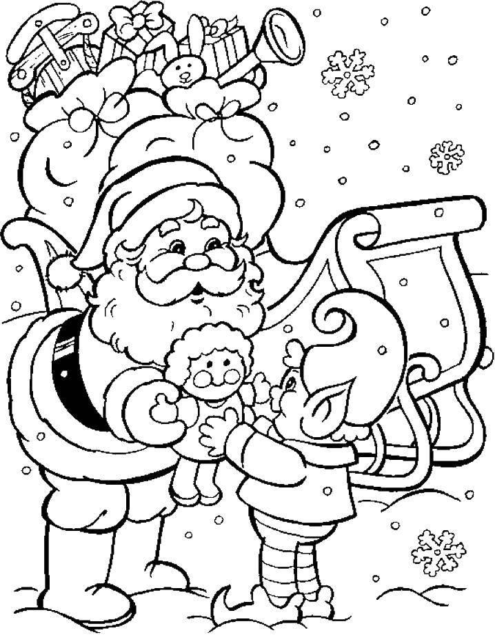 Название: Раскраска Санта клаус с подарками. Категория: Рождество. Теги: санта клаус, ельф, подарки.