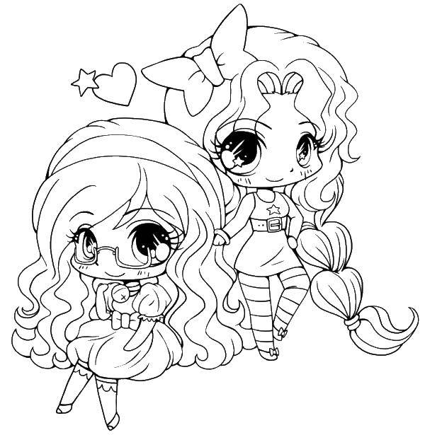 Coloring Two girls with long hair Download girls hair bow, glasses,.  Print