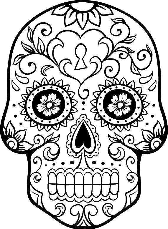 Coloring Cute painted skull. Category Skull. Tags:  skull, patterns, flowers.
