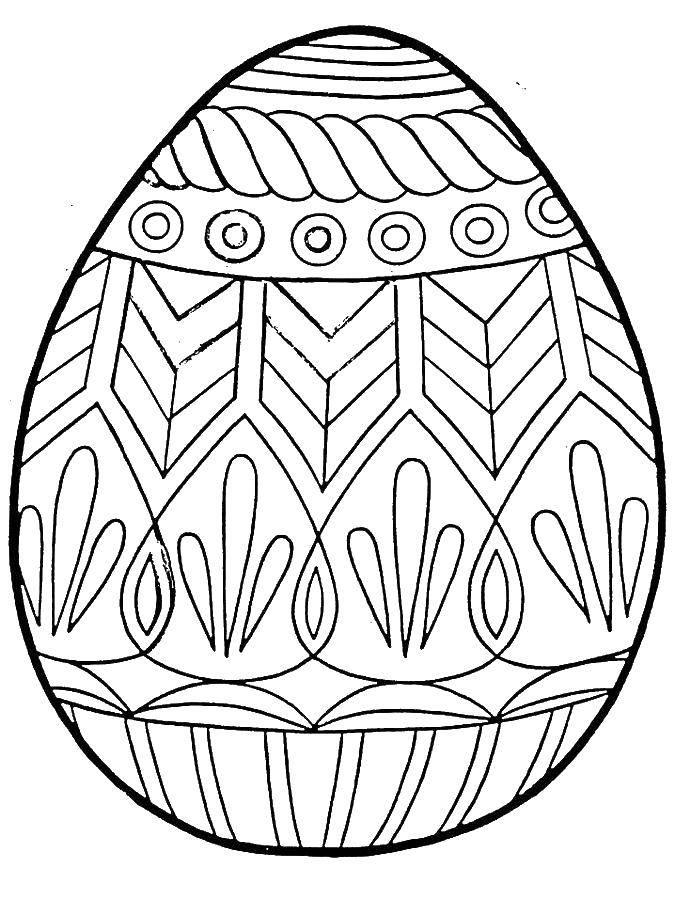Раскраски узорами, Раскраска Разукрашенное узорами яйцо ...