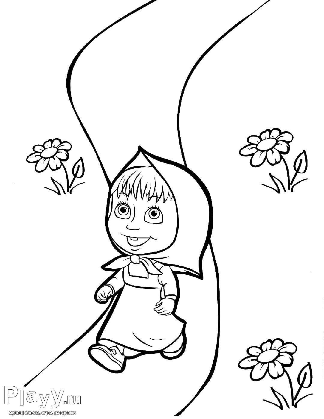 Coloring sheet Masha and the bear Download .  Print