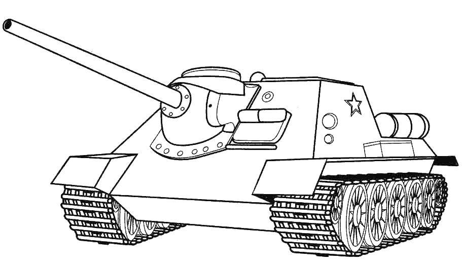 Coloring Military tank with a star Download military equipment, war, tanks.  Print ,tanks,