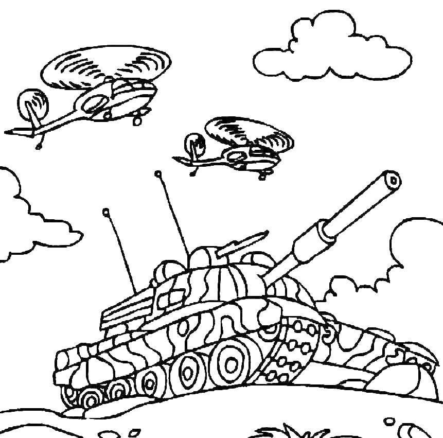 Раскраски звездой, Раскраска Военный танк со звездой танки.