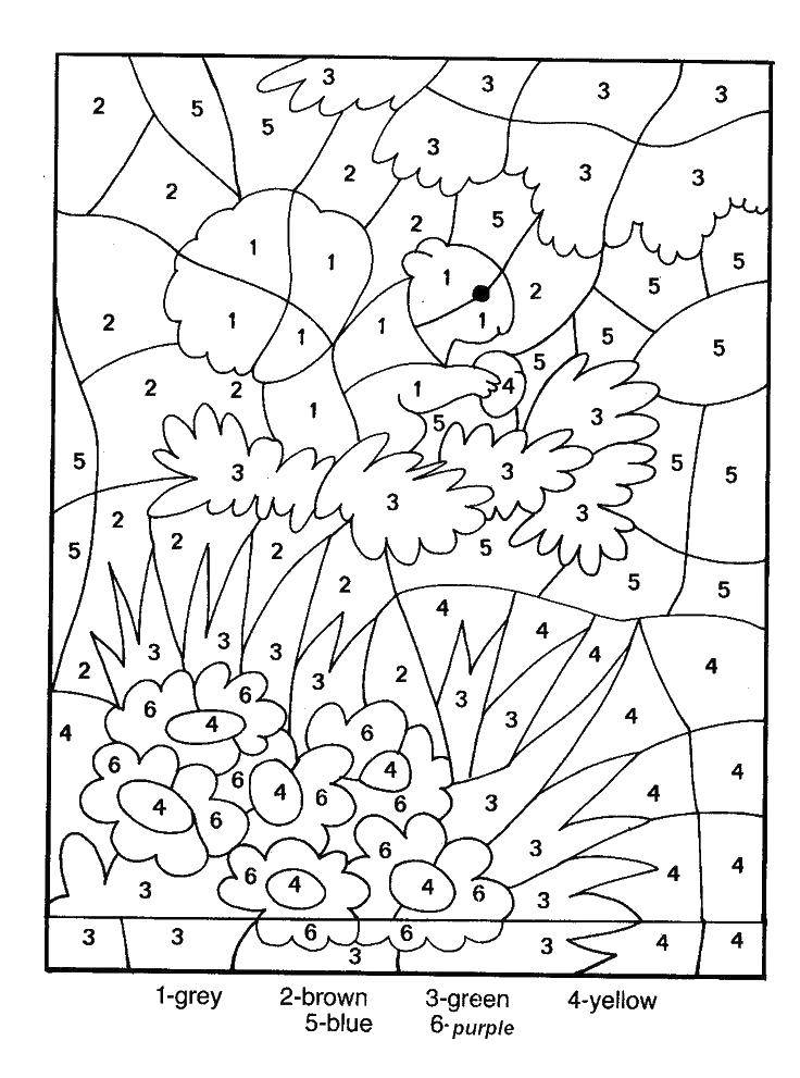 Coloring pages By the numbers Скачать .  Распечатать
