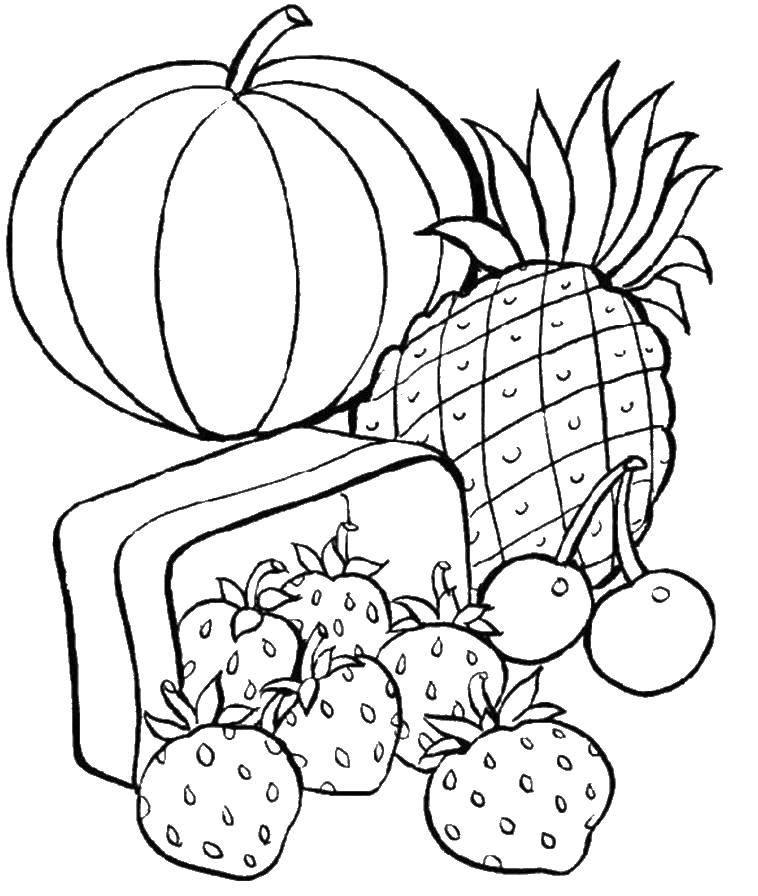 Название: Раскраска Тыква, ананас, вишня, клубника. Категория: еда. Теги: тыква, ананас, вишня, клубника.