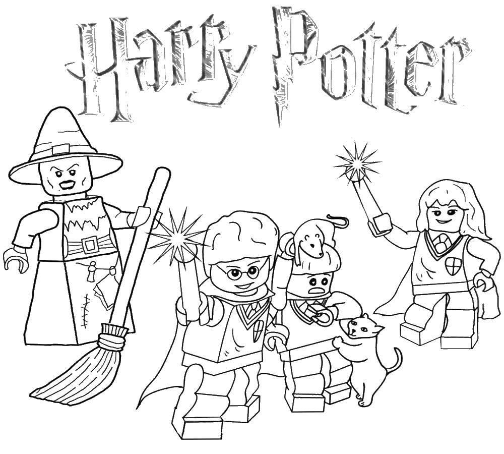 Раскраска Лего гарри поттер Скачать ,лего, конструктор, Гарри Поттер,.  Распечатать