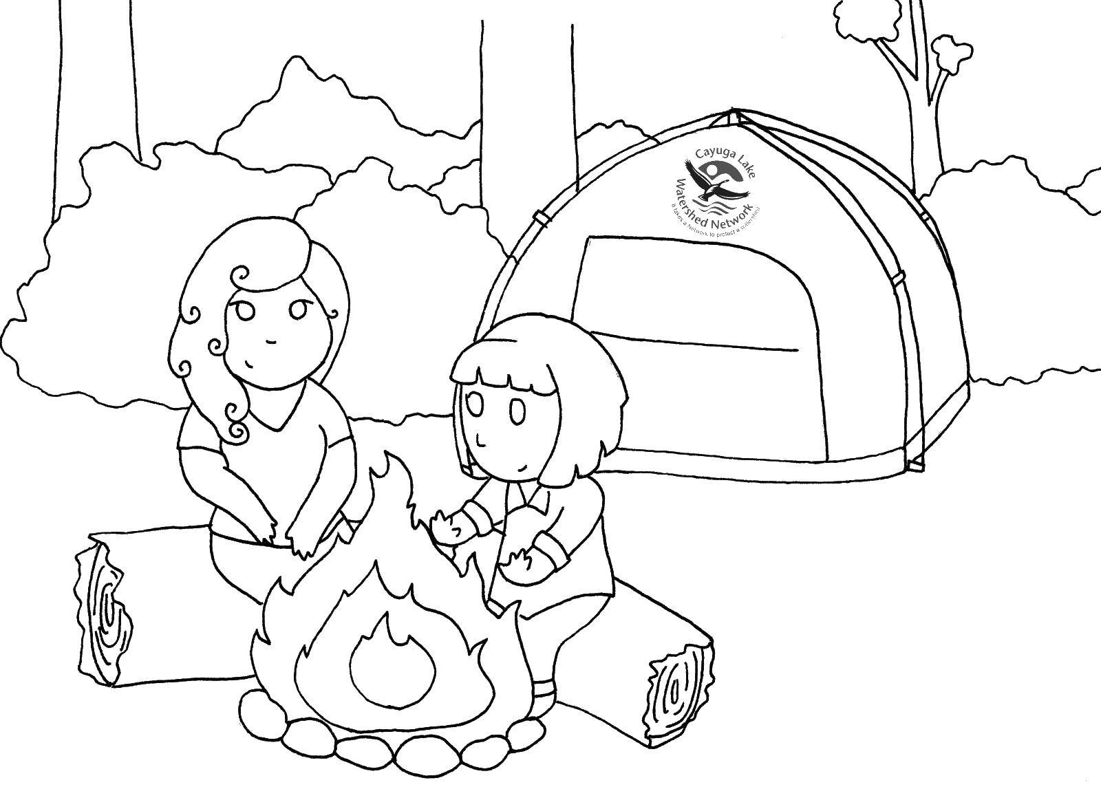Coloring sheet Camping Download Zimnicea.  Print ,winter,