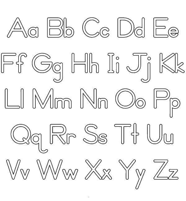 Английский алфавит в черно-белых картинках для детей