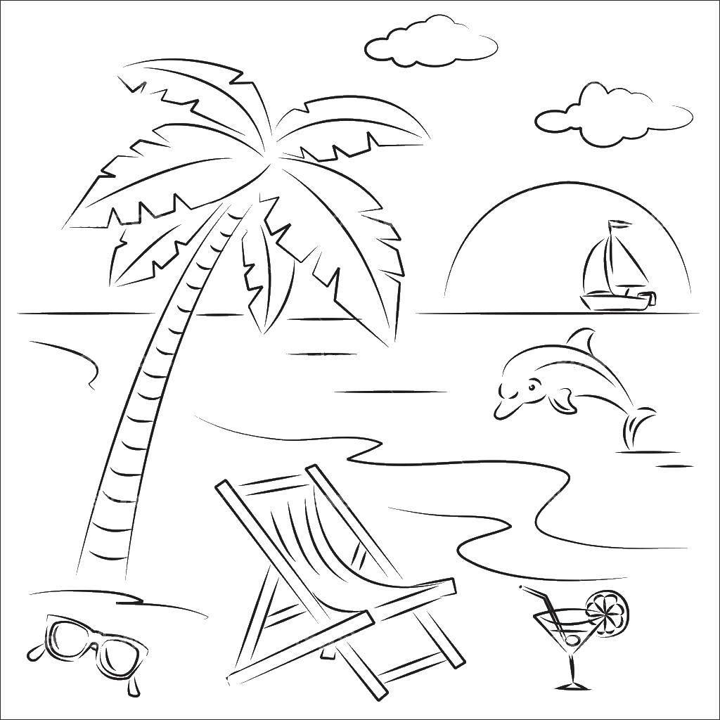 Раскраска лето Скачать ,летний пляж, песок, дельфин, море, пальма,.  Распечатать