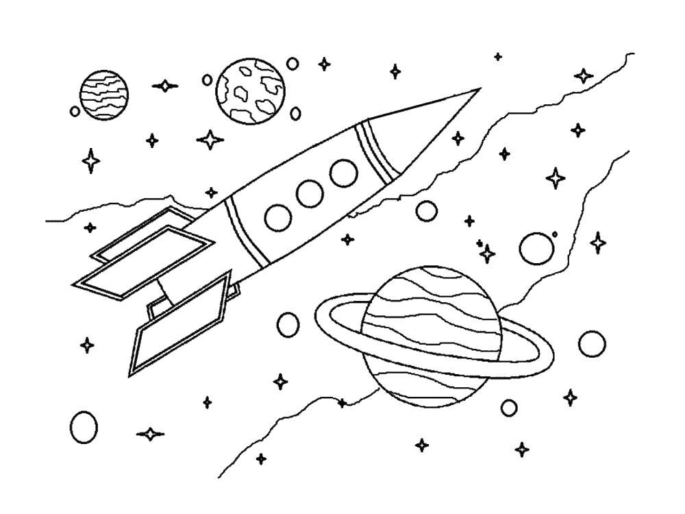 Coloring The rocket flies in outer space between planets and stars Download Space, rocket, stars.  Print ,space,