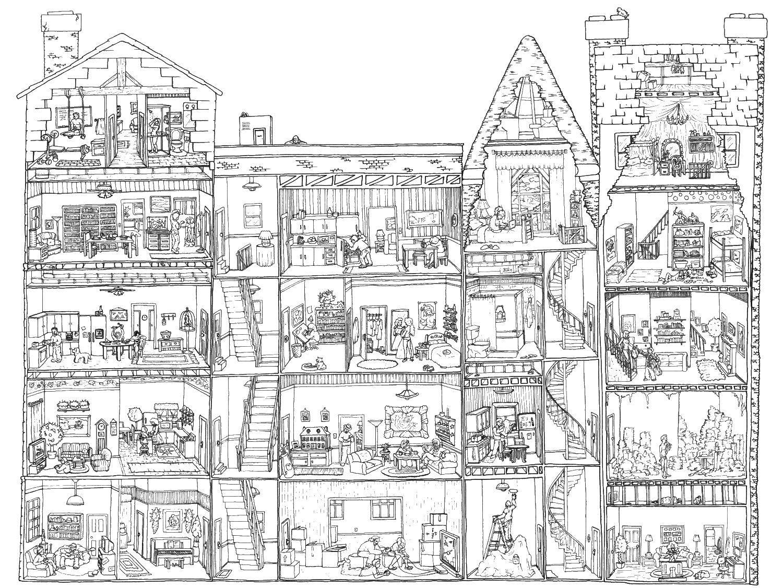 Раскраска здания Скачать ,кукольный домик,.  Распечатать