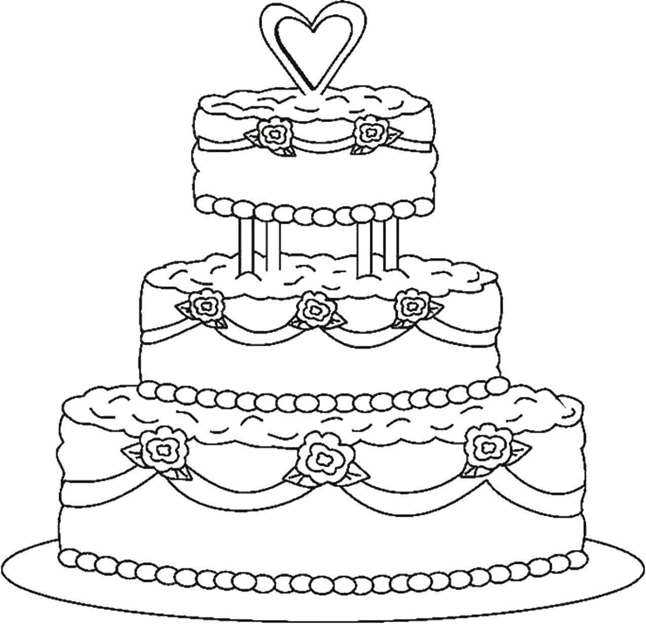 Раскраски Раскраска Торт с вишенкой торты, скачать ...