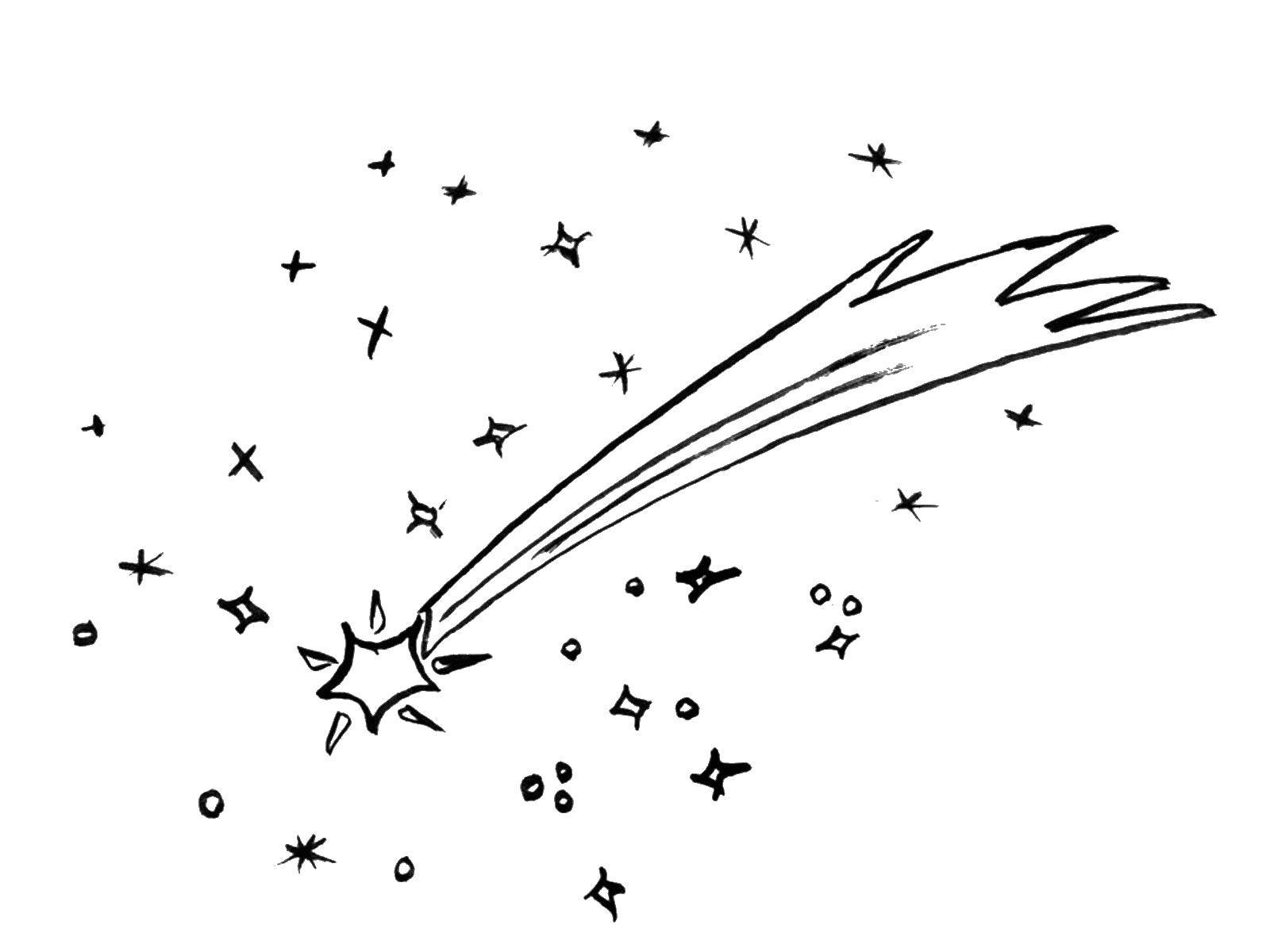 Coloring Comet and star Download space, comet, stars.  Print ,The day of cosmonautics,