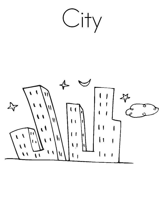 Coloring Night city Download city, night, city.  Print ,the city,