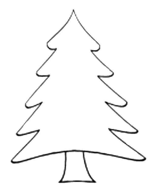 Раскраска Контур дерева Скачать ,деревья, контуры, елочка,.  Распечатать
