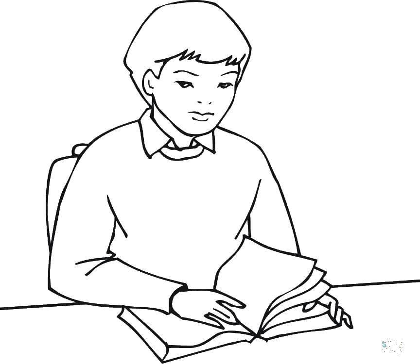Картинка раскраска школьник