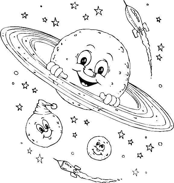 Раскраски штучки, Раскраска Космические штучки Космос.