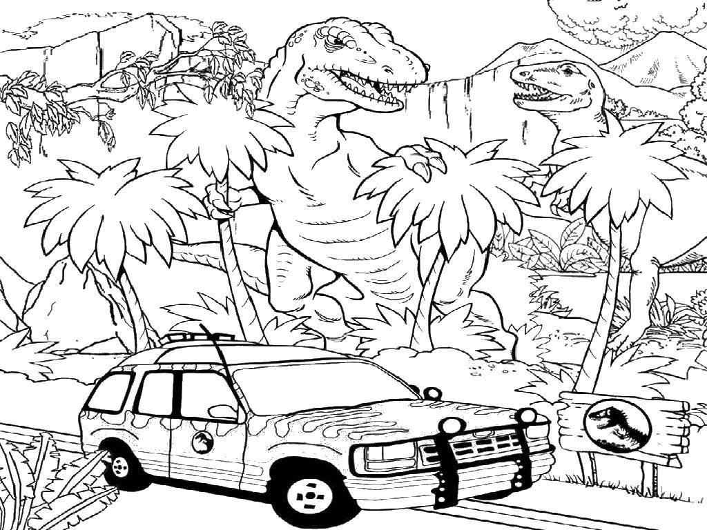 Раскраска Машина и динозавры Скачать ,динозавры, машина,.  Распечатать