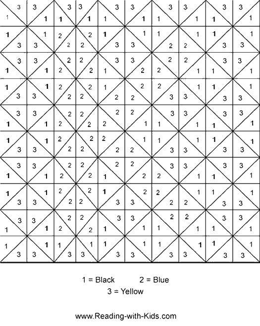 Coloring Make it triangles according to the numbers Download ,by numbers, by numbers, picture,.  Print
