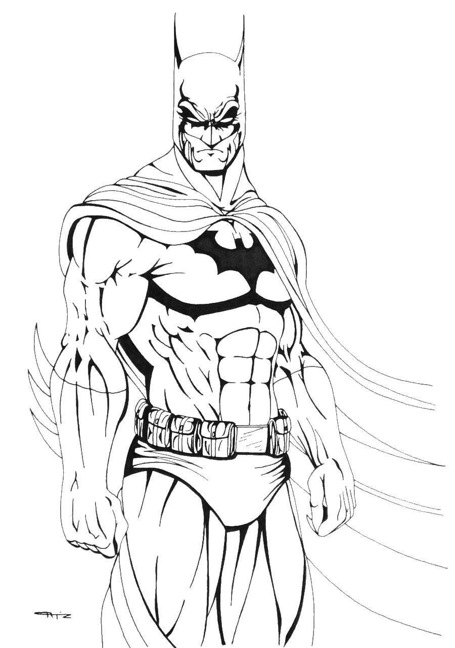 Раскраска Сильный бэтмен Скачать ,супергерои, комиксы, марвел, бэтмен,.  Распечатать