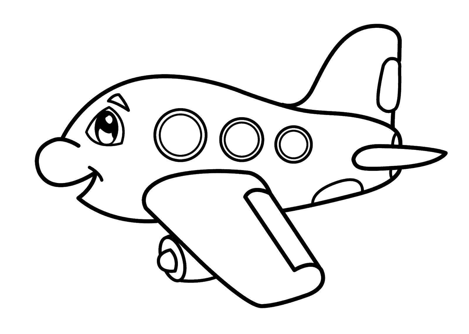 Раскраска Милый самолётик Скачать ,Самолёт,.  Распечатать