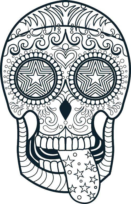 Coloring Skull with drawings of stars Download skulls, stars.  Print ,Skull,
