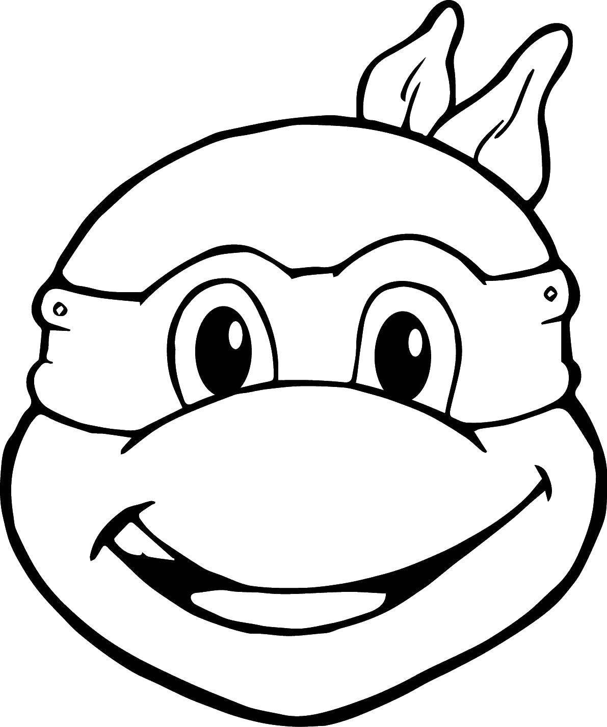 Раскраска Черепашка ниндзя маска Скачать ,мультфильмы, черепашки ниндзя, маски,.  Распечатать