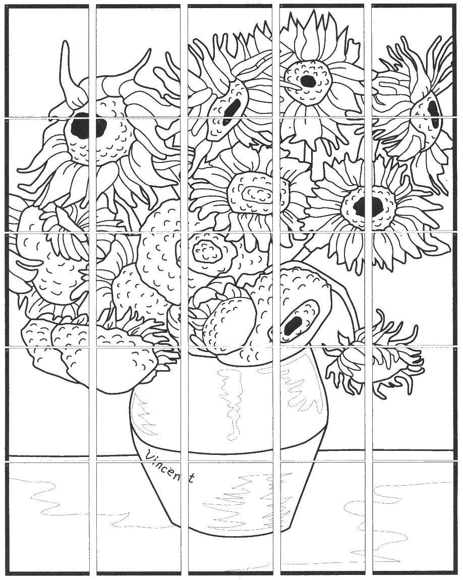Coloring Vase with fifteen sunflowers Download vase with fifteen sunflowers, van Gogh,.  Print