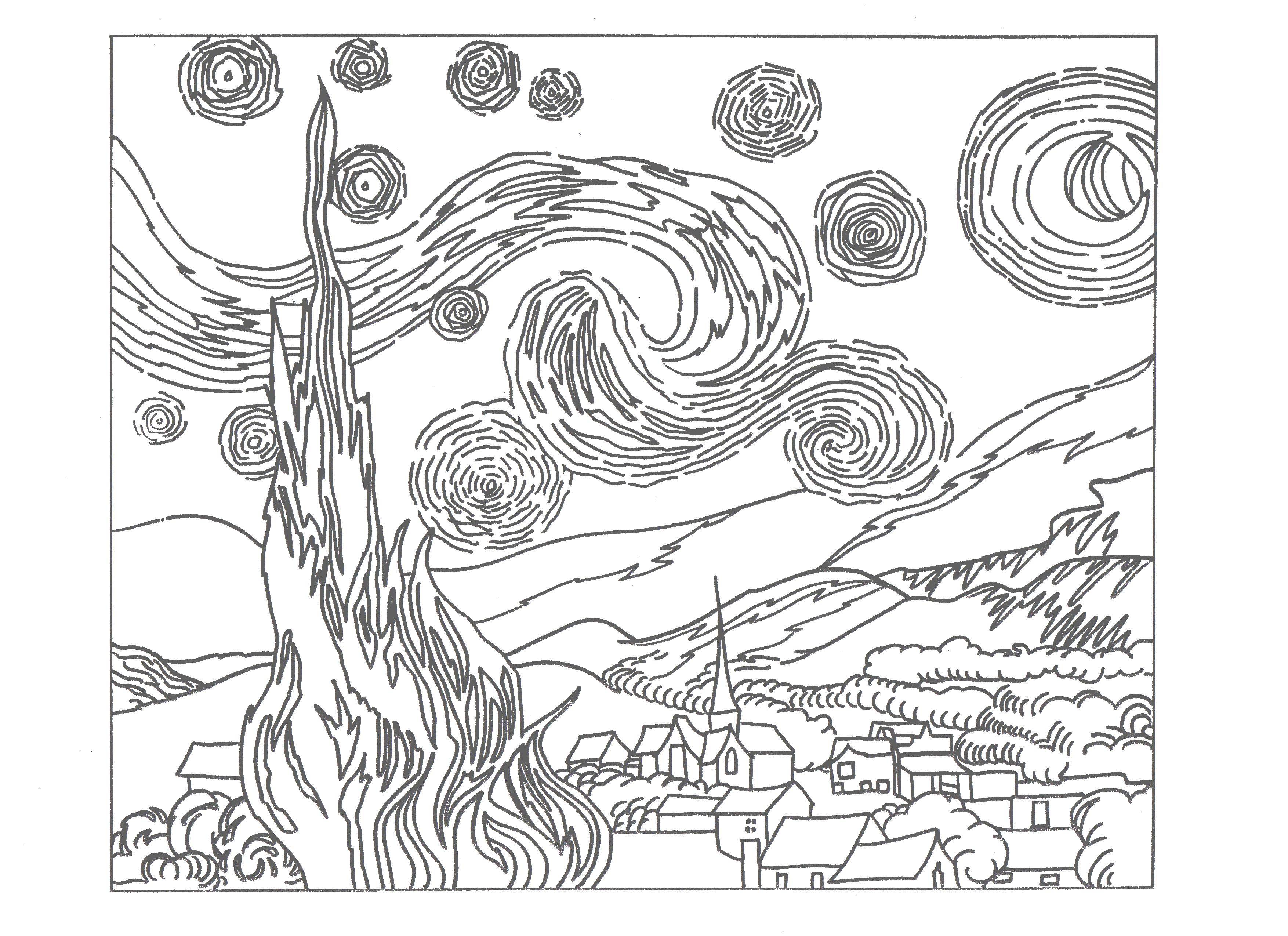 Coloring Starry night Download Van Gogh, painting, starry night.  Print ,coloring,