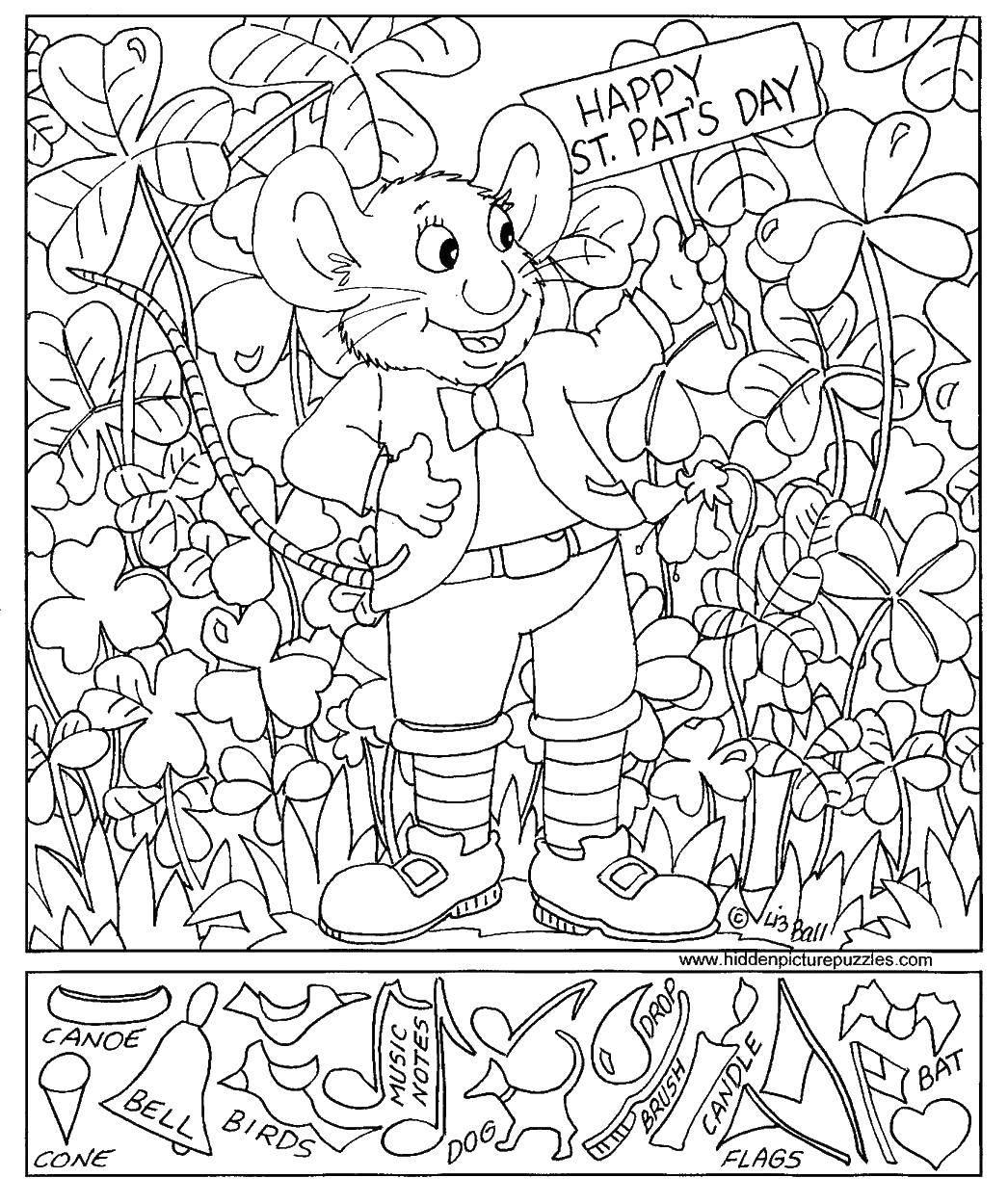 Раскраска Мышка в траве Скачать ,загадки, мышка,.  Распечатать