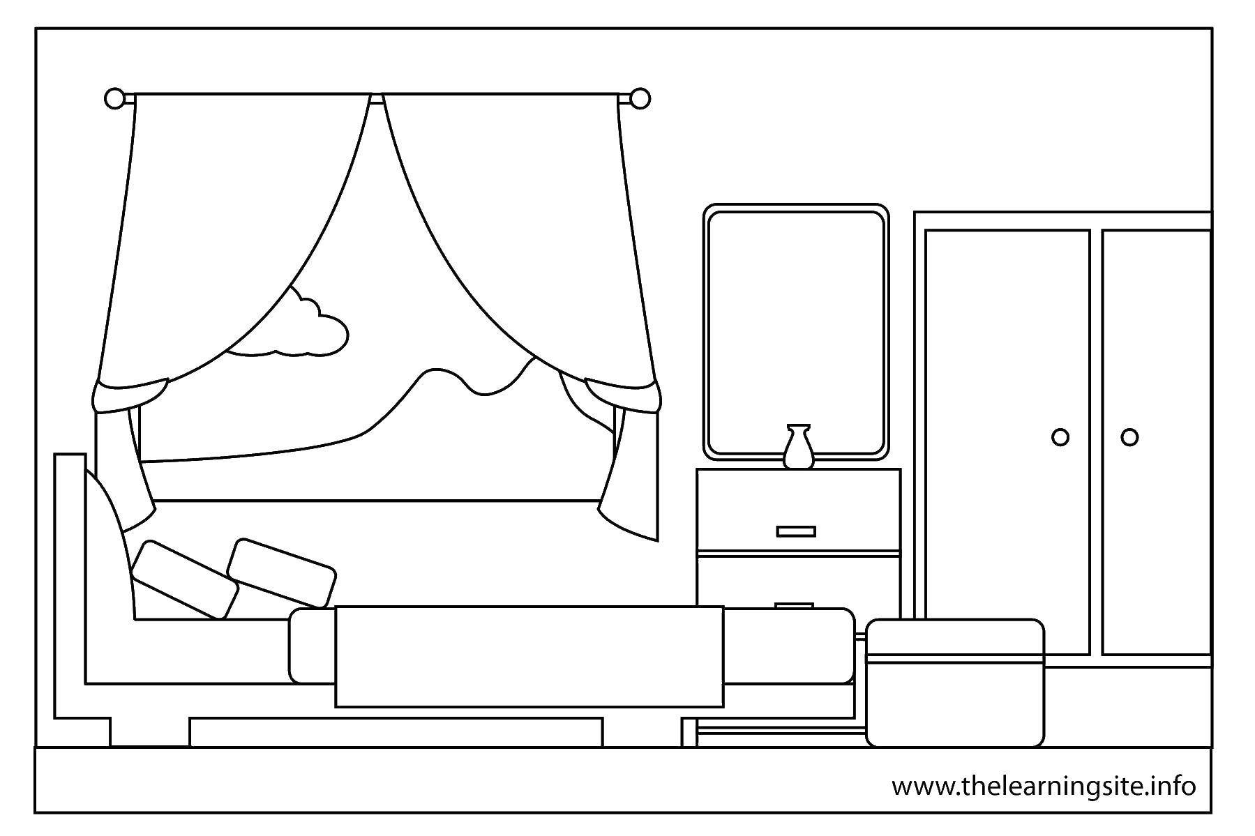 Coloring sheet Bedroom Download Autumn, leaves.  Print ,autumn,