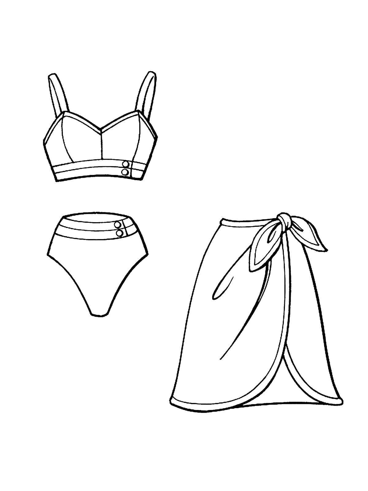 Картинка раскраска одежда для девочки