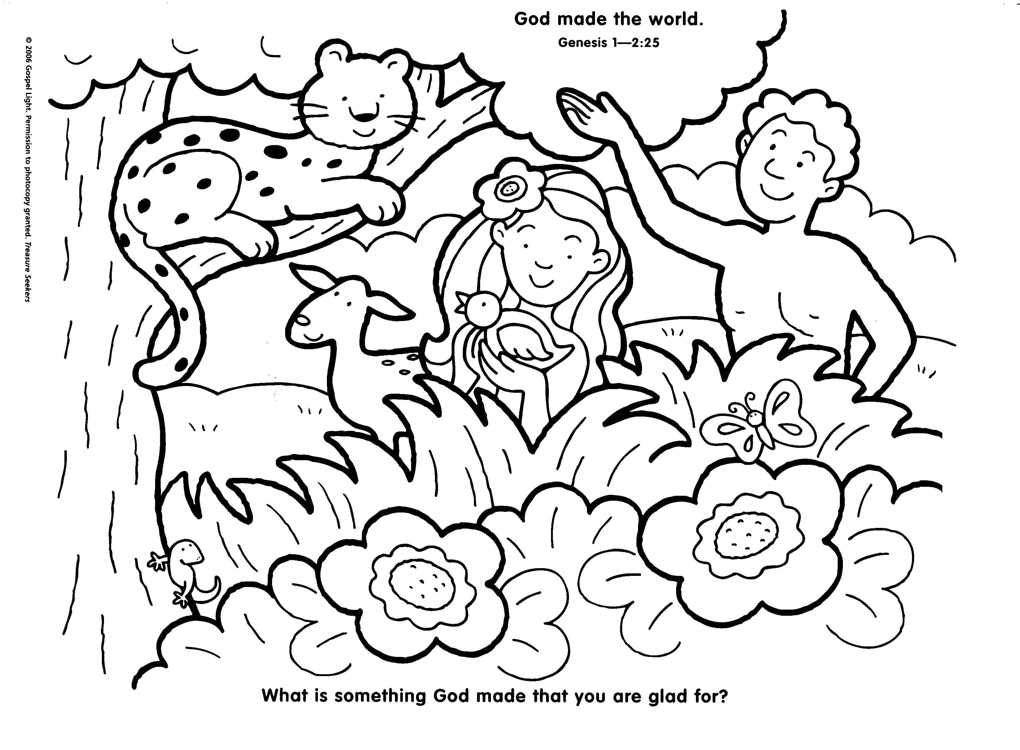 Coloring Adam and eve with animals Download Adam, eve, world, earth.  Print ,the Bible,