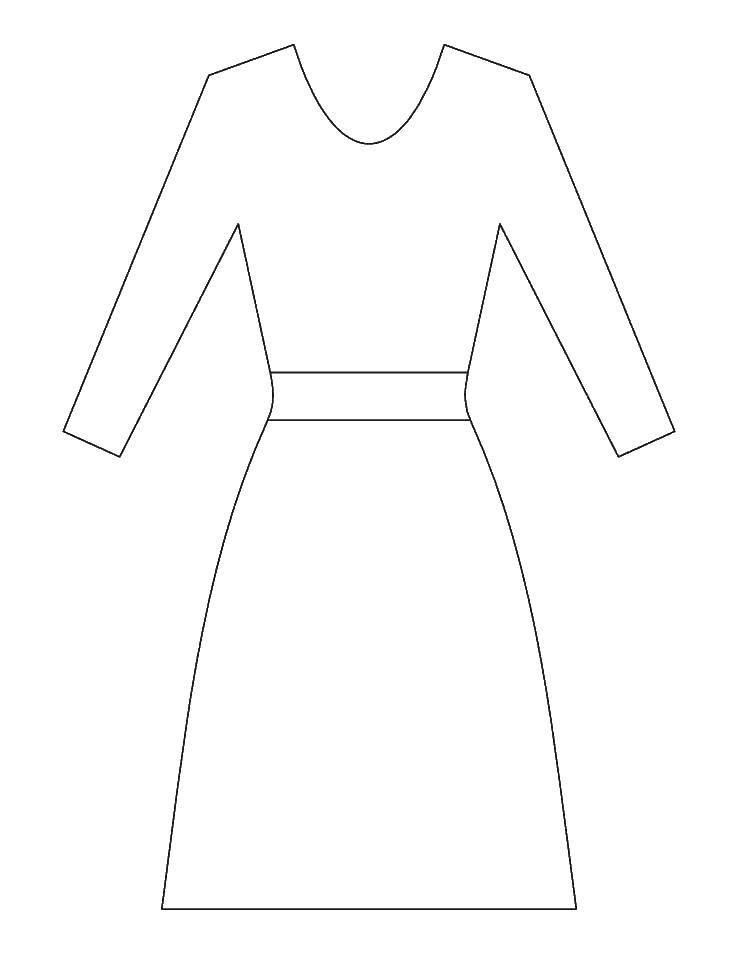 трафареты платьев для раскрашивания