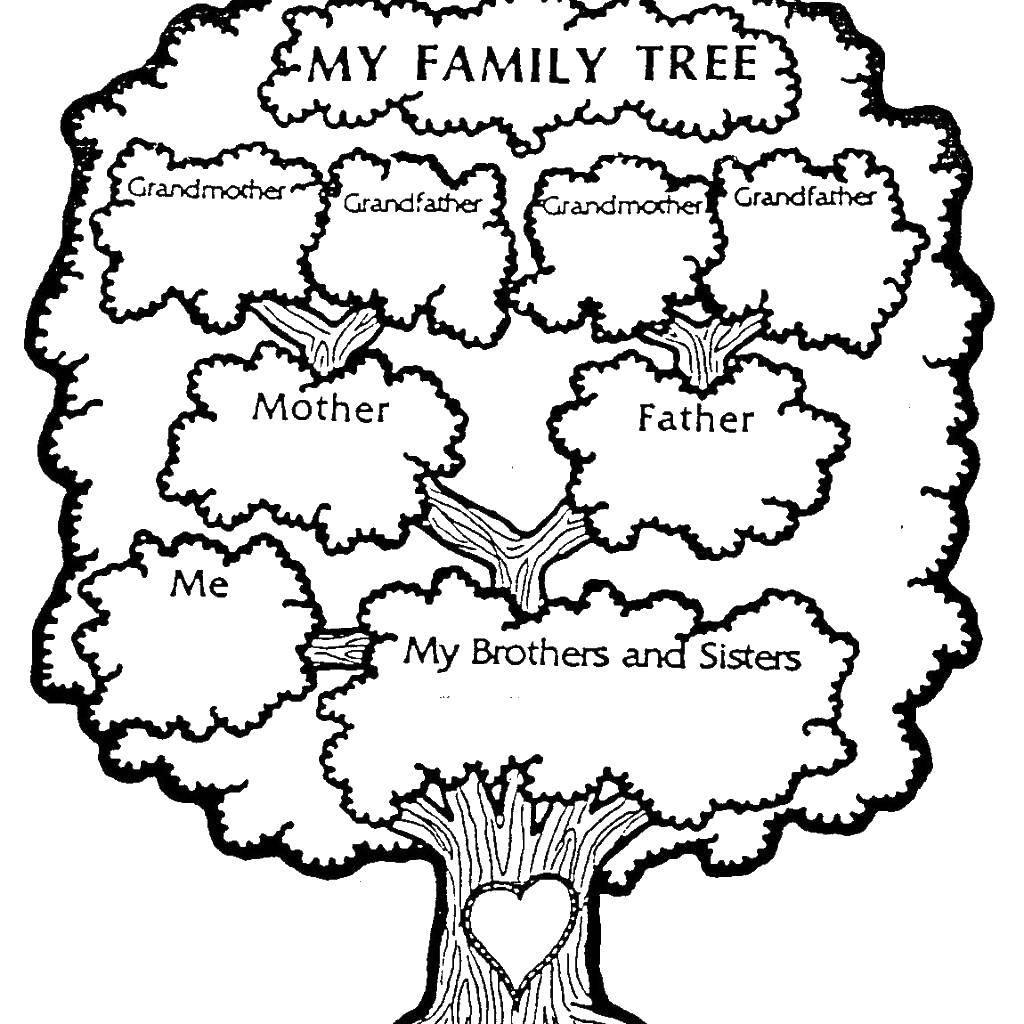 Раскраска Члены семьи Скачать ,английские слова,.  Распечатать